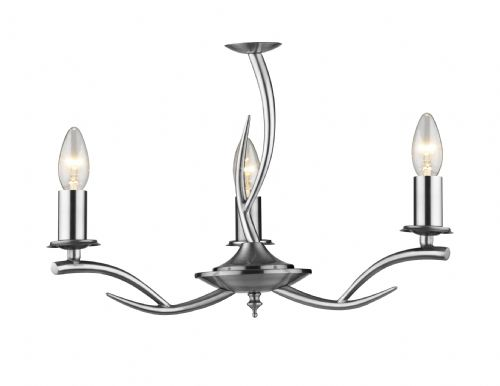 0.3) Elka 3-light Satin Chrome Ceiling Light (Class 2 Double Insulated) BXELK0346-17